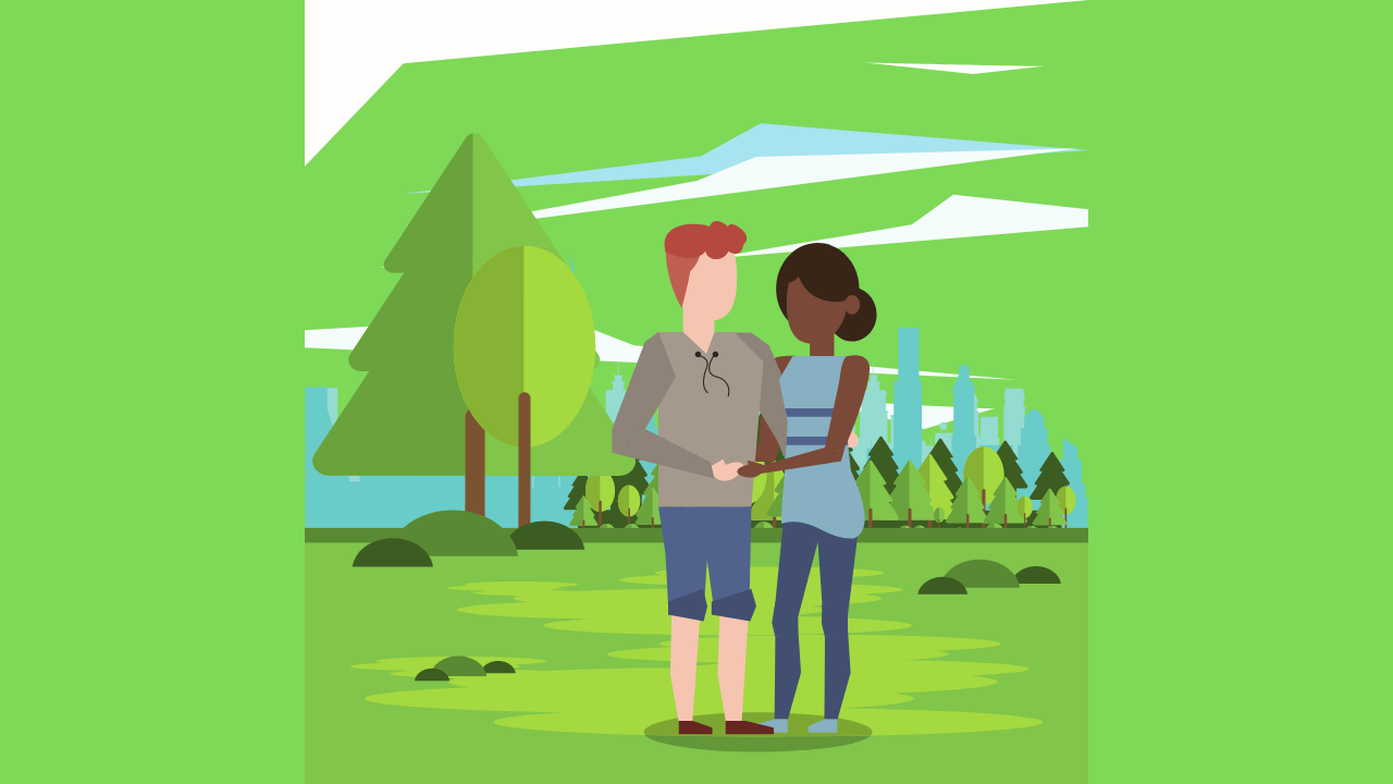 Cartoon image of white guy and black girl in a forest scene for my article, Interracial First Date Questions That Stunned Me