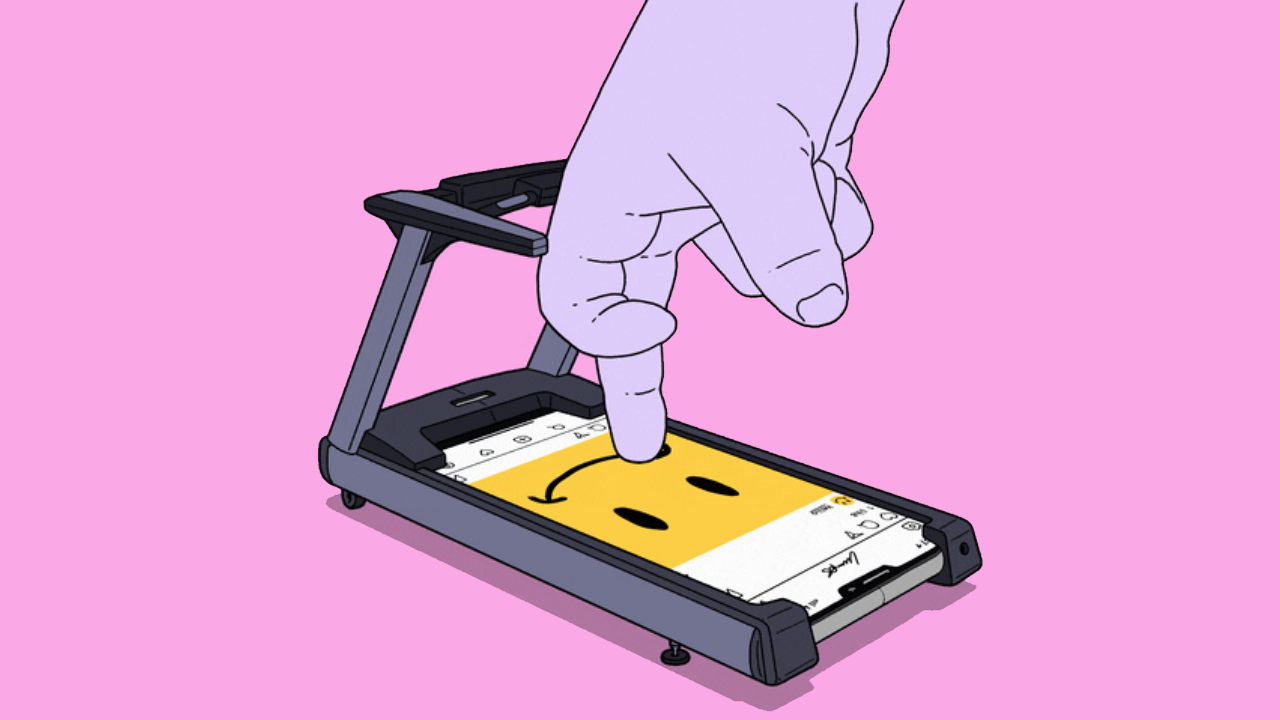 Two fingers running on a phone that looks like a treadmill
