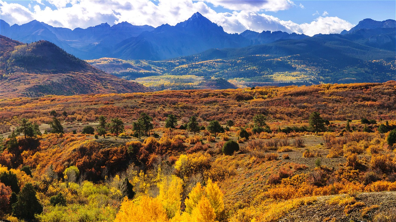 Looking across a field toward mountains in Colorado, United States