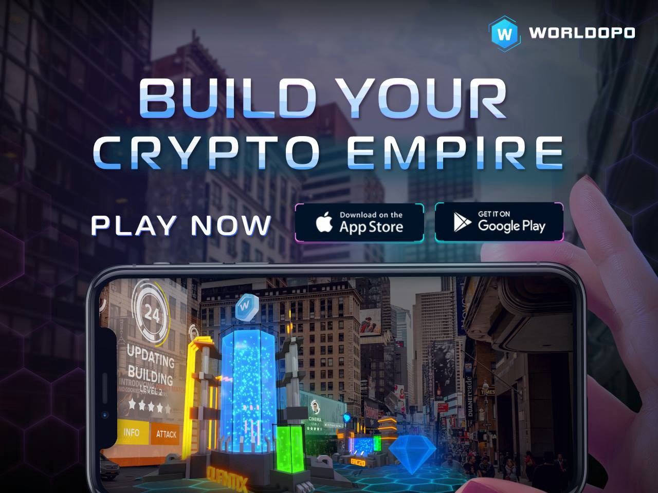 Worldopo: Mobile game with Blockchain, AR, Geopositioning
