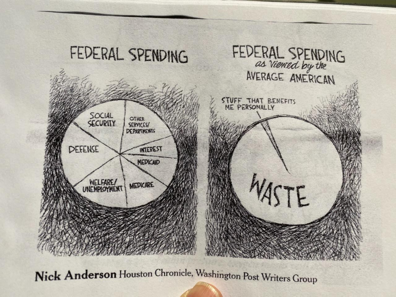 """2 pie charts portraying real federal spending vs what Americans think; only 2 slices: """"Waste"""" and """"stuff that benefits me."""""""