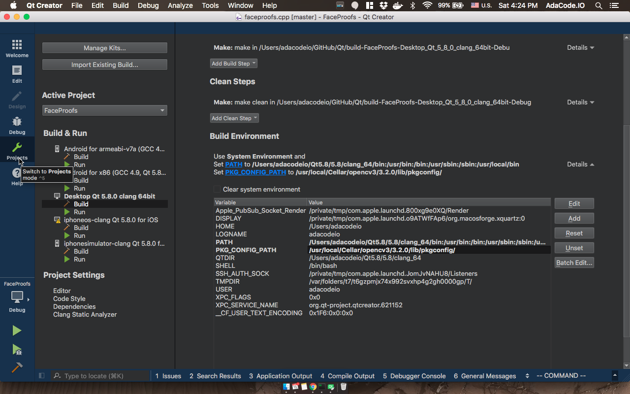Proper way to include OpenCV in Qt project — OSX - Ada