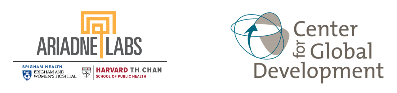 Ariadne Labs (Brigham Health, Brigham and Women's Hospital) and Center for Global Development logos