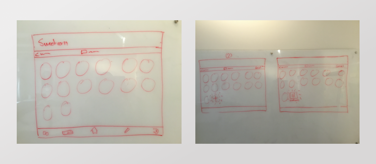 Three whiteboard sketches showing the process of searching for a word.