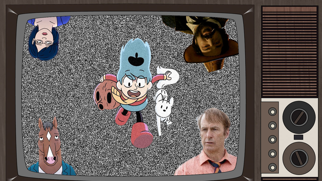 A TV with static. In the static is a selection of characters.