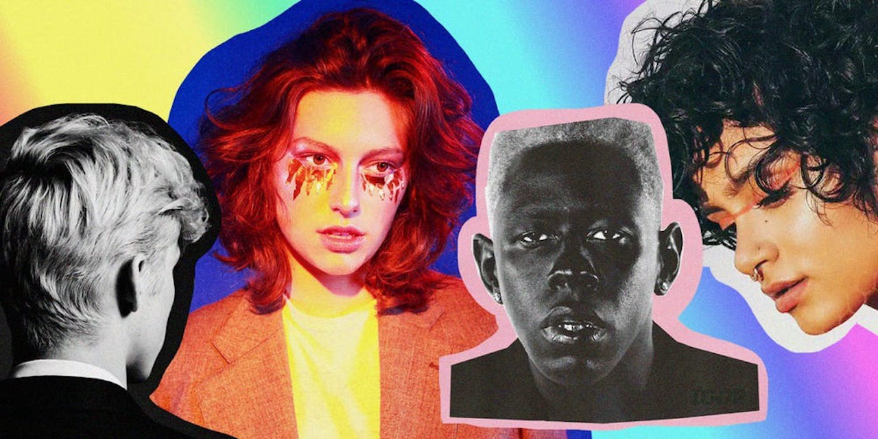 A graphic featuring Troye Sivan, King Princess, Tyler, the Creator, and Kehlani.
