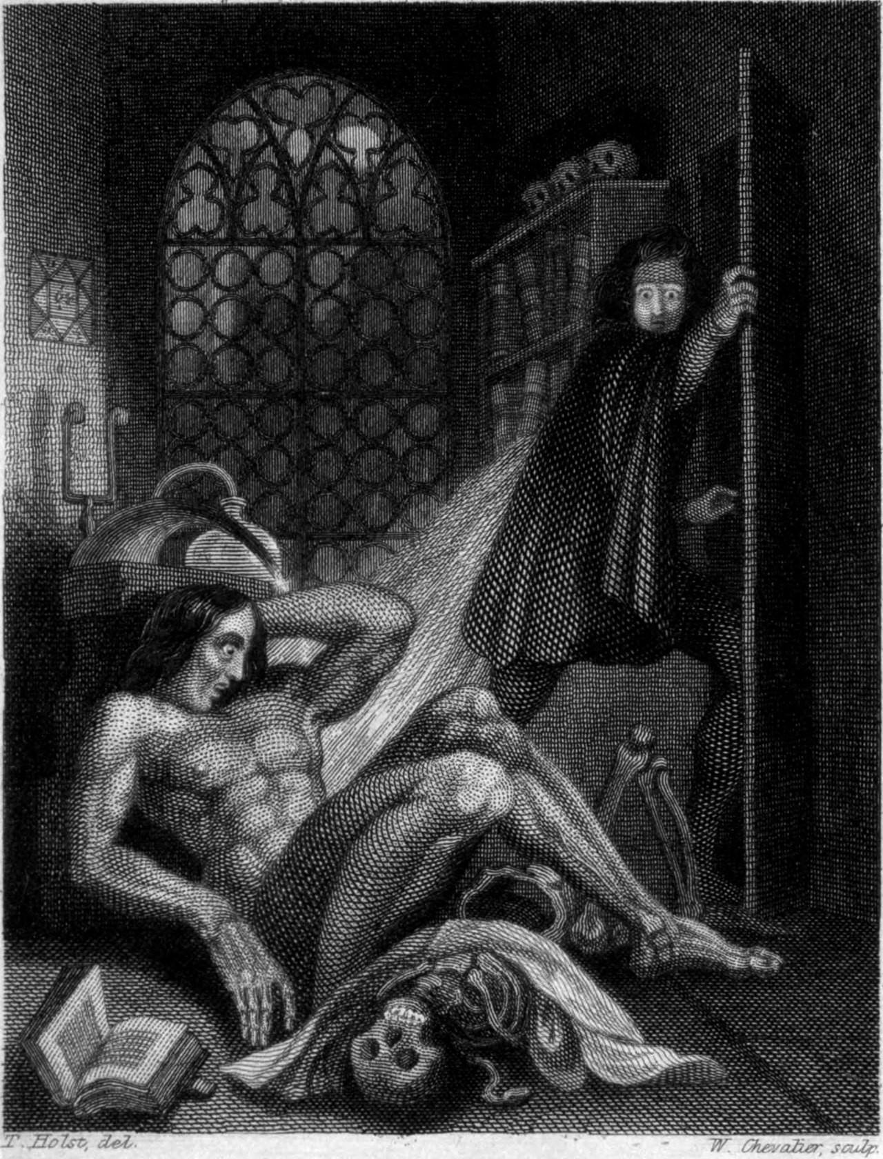 An etching of Victor Frankenstein looking horrified at his monster