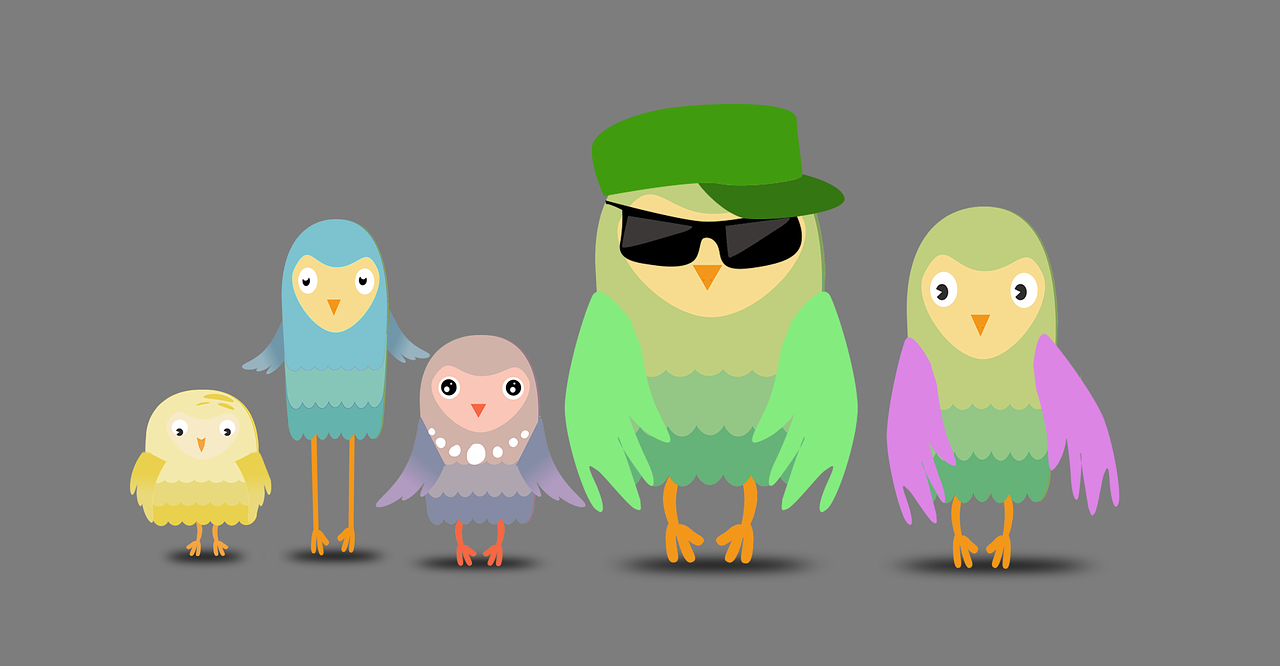 A cartoon illustration of five birds, one with sunglasses.