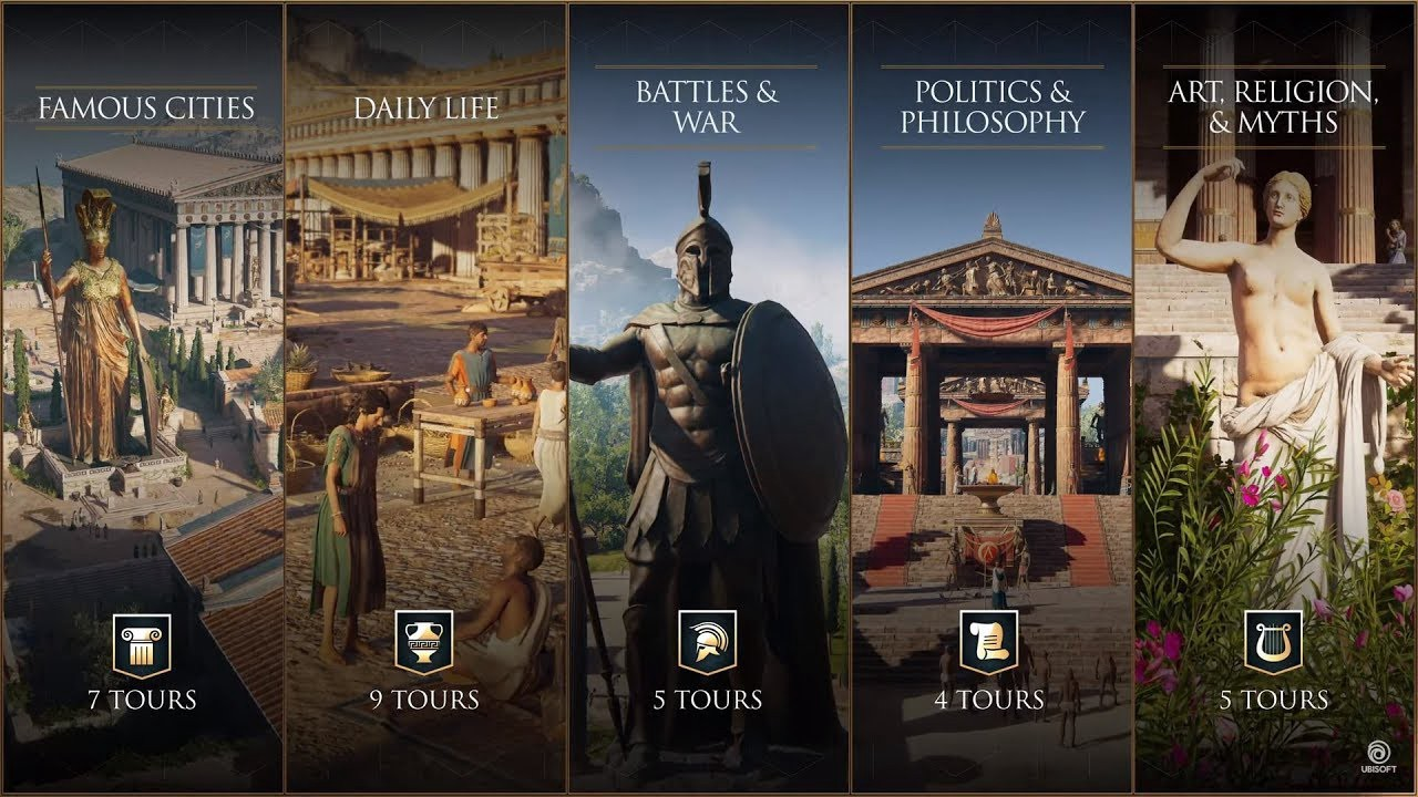 A screenshot of the different Greek themes: cities, daily life, war, politics, philosophy, art, religion, and mythology.