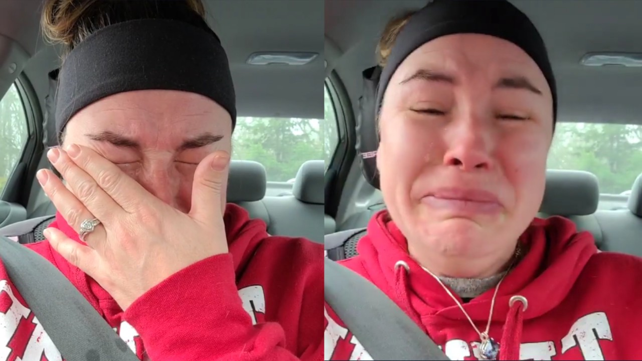 Two shots of a woman in a red sweatshirt and black headband crying, side by side