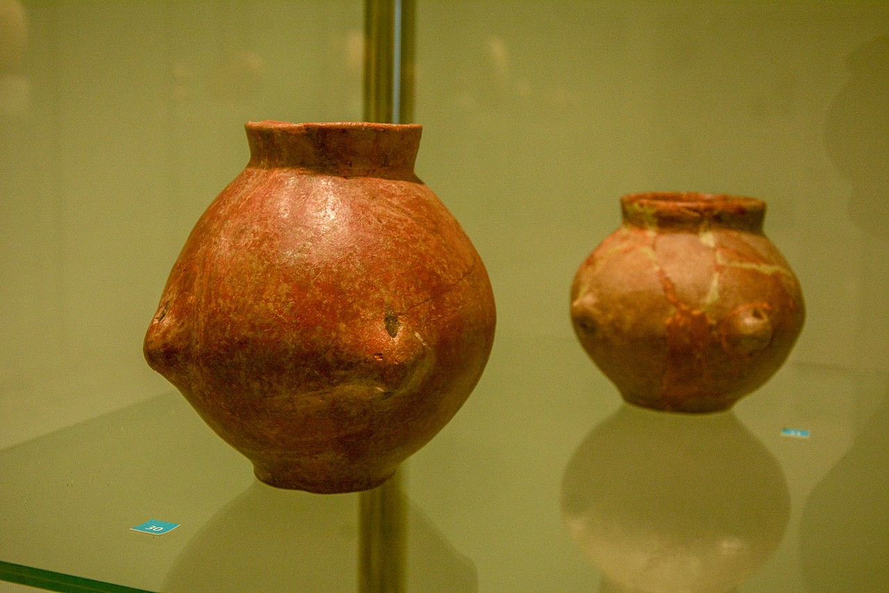 Layout from the site of Lepenski Vir—Amphoras made of baked clay