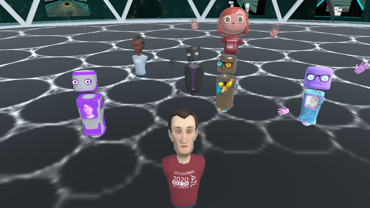 A group of avatars take a selfie in a Mozilla Hubs virtual reality environment