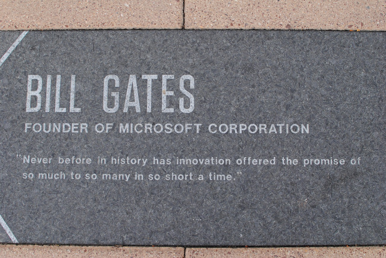 Illustrates the Plaque of Bill Gates, Founder of Microsoft Corporation
