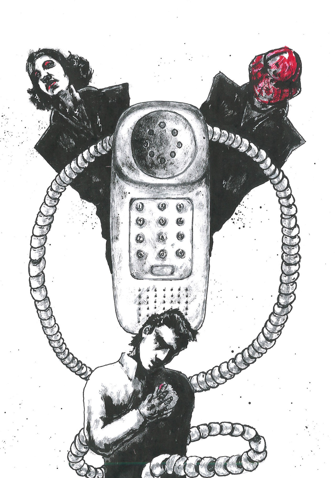 Two women on phone call with man