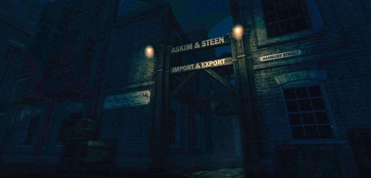 "A dark broody gate, with a sign above it ""Askim & Steen"" and ""Import & Export""."