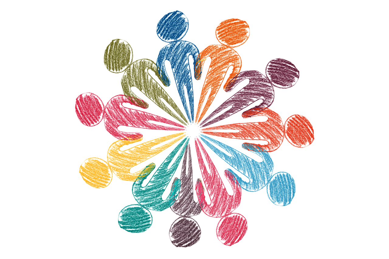 People in a circle. Philanthropy; human rights-based approach; grantmaking; human rights; corporate giving; structural change