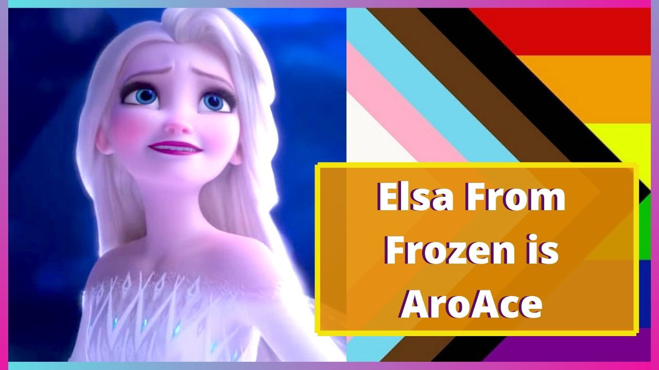 "An image of Elsa from Frozen next to the progressive pride flag and the caption ""Elsa From Frozen is AroAce""."