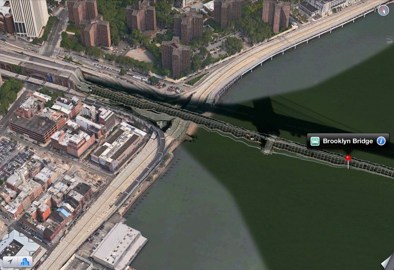 The warped and broken 3D render of the Brooklyn Bridge on the original Apple Maps.