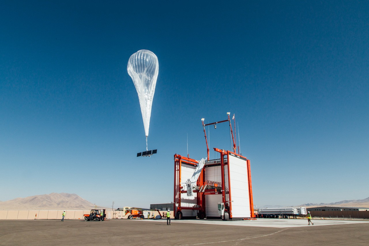 A helium filled balloon carrying a 4G base station that is solar-powered.