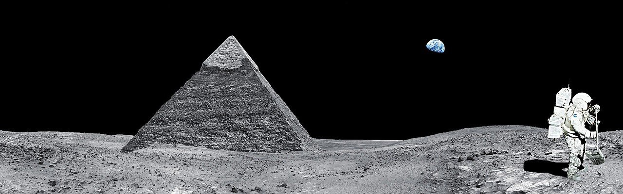 Pyramid on the moon with astronaut.