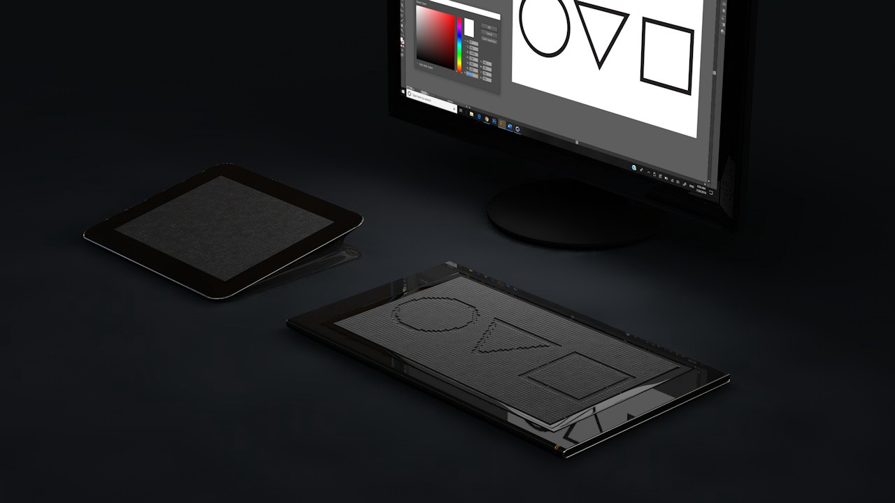 A computer monitor displaying color picker & 3 shapes, an iPad-like device at a slight, elevated angle and a tactile display.