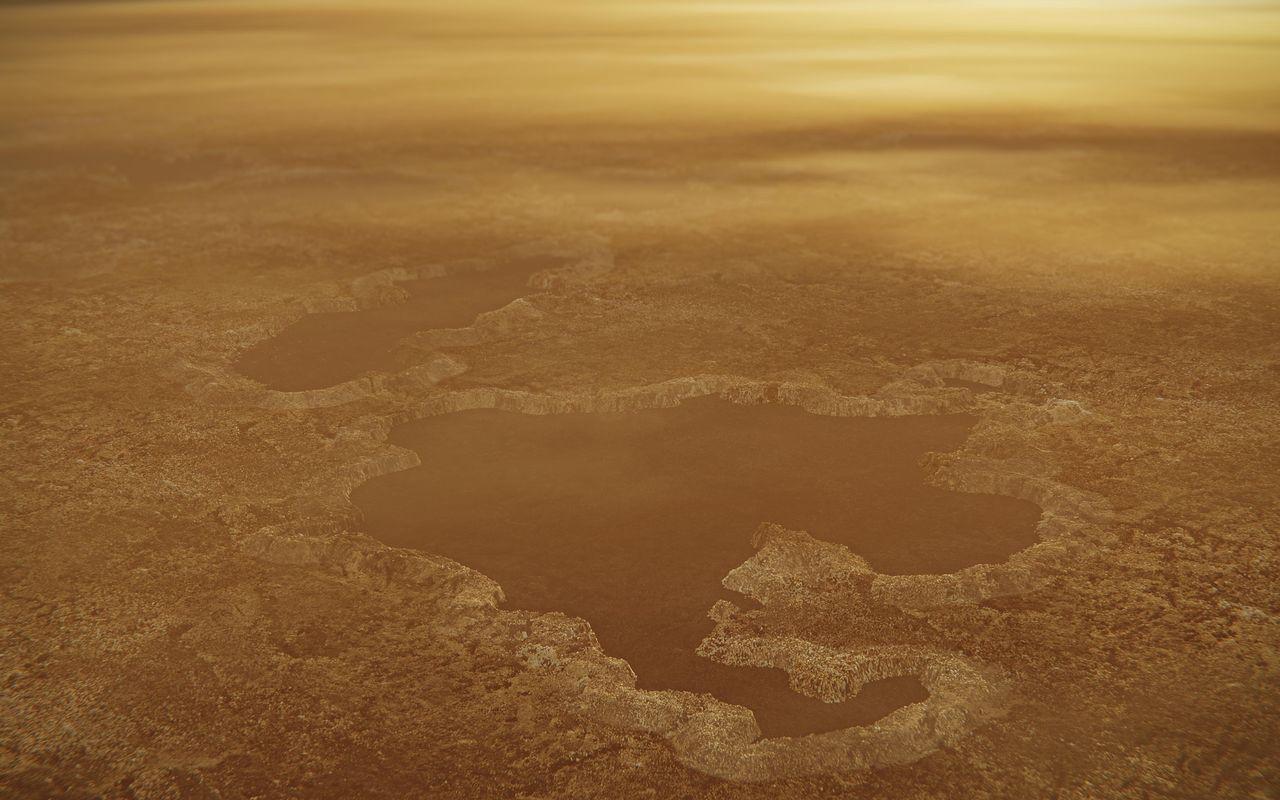 A lake on Titan is imagined with irregular edges and cliffs.