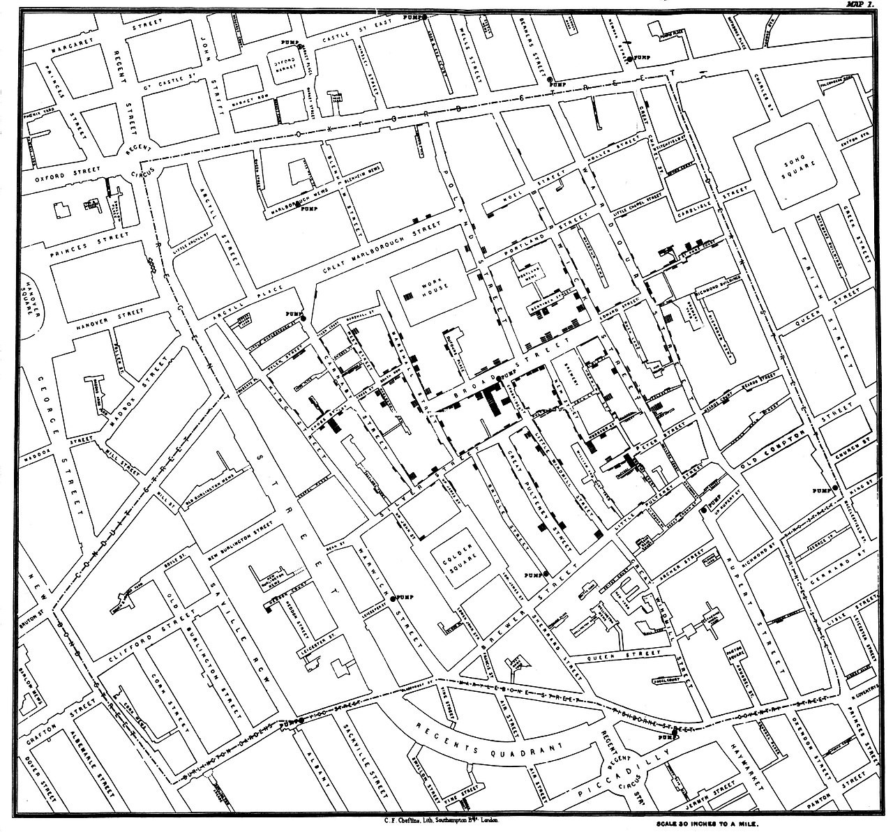 London in 19th century map using dots to show cases of cholera surrounding the Broad Street water pump.