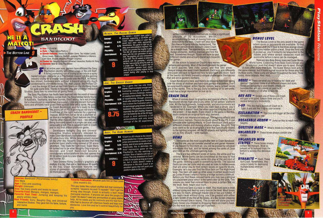 a much needed crash course on video game journalism a review of crash bandicoot on the nd issue of game informer released in  september of  the contents of this magazine issue are easily  accessible