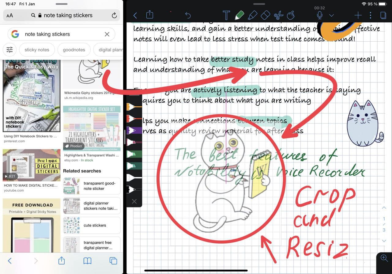 digital stickers cropping in notability