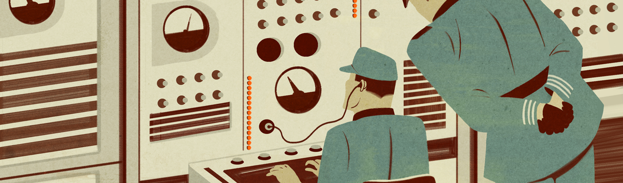 Retro-style illustration of two people sitting at a control panel