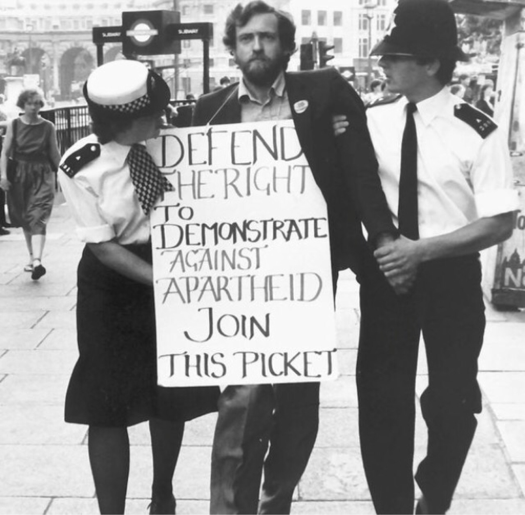 Image result for corbyn protesting against apartheid