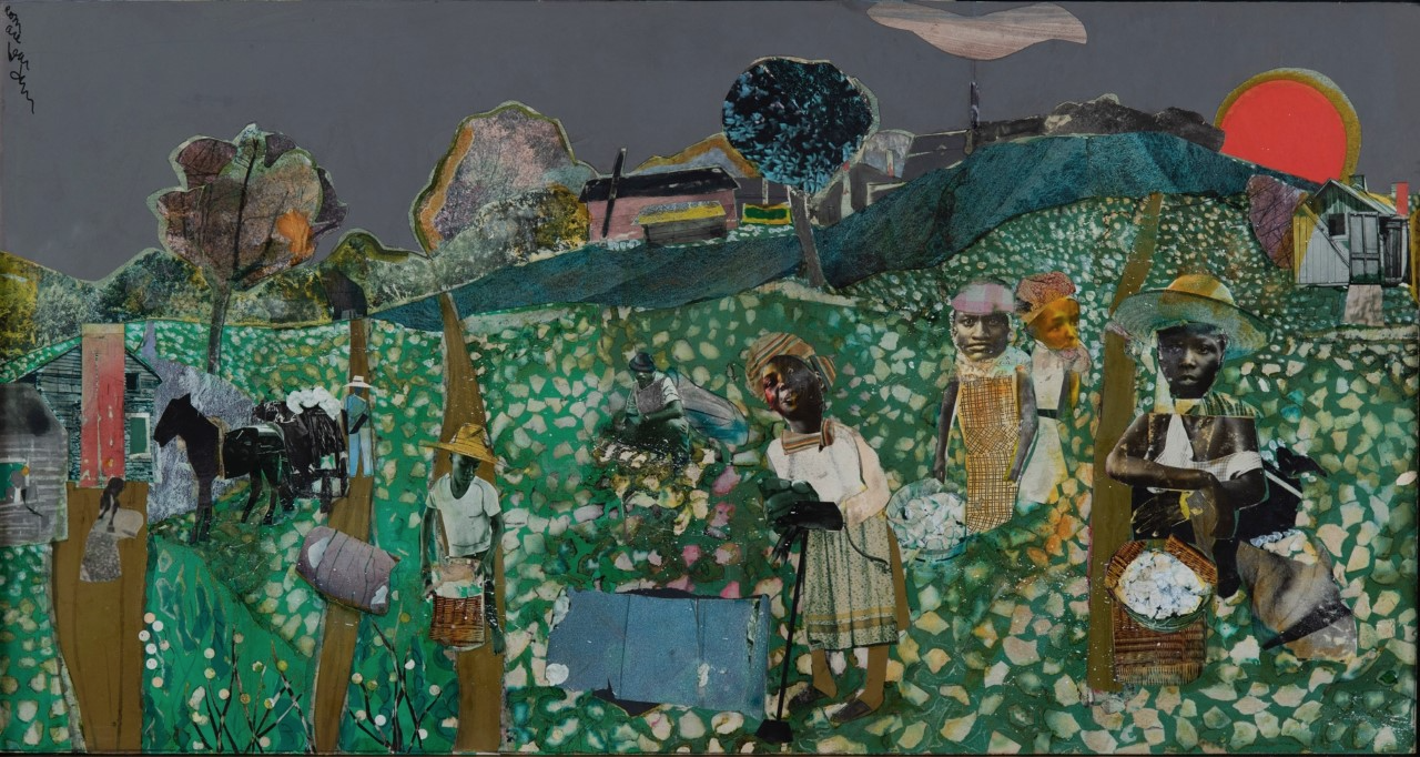 Collage artwork by Romare Bearden featuring black men and women working in the cotton fields as a red sun sets behind a hill.