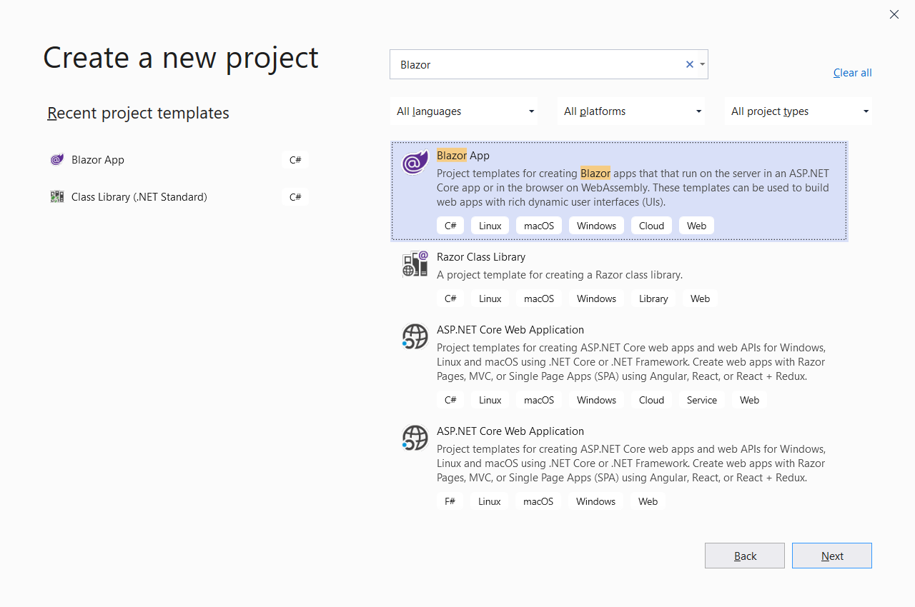 create a new project screen