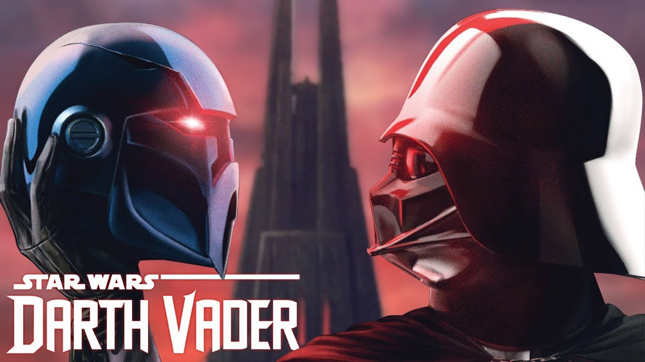 Vader holding Lord Momin's helmet in the air.