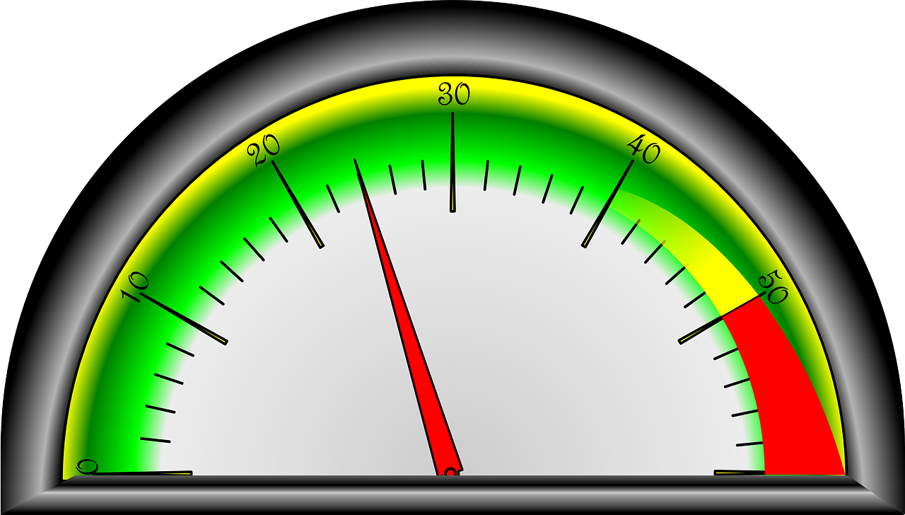The neddle of a pressure gauge moves between 20 and 30 on the gauge.