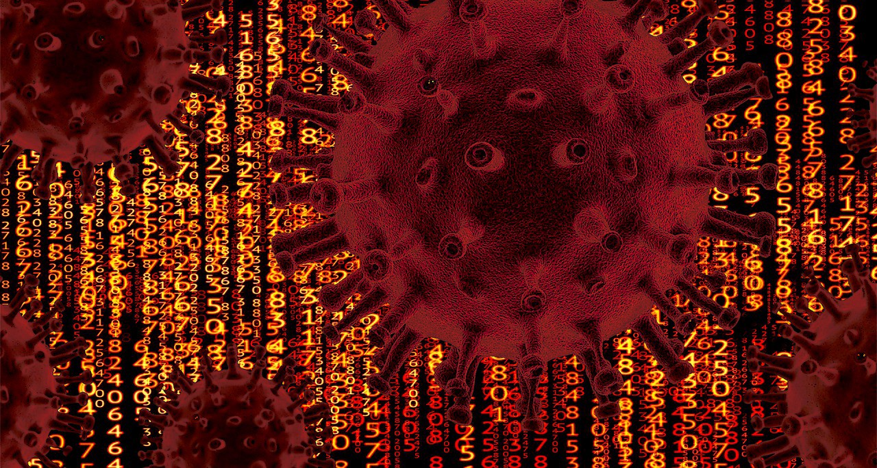 A visual representation of a virus strain set against a matrix-style background with columns of numbers, all in red hues.