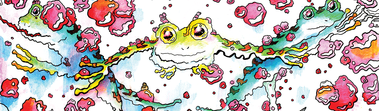 Trippy illustration of a frog flanked on either side by two other frogs.