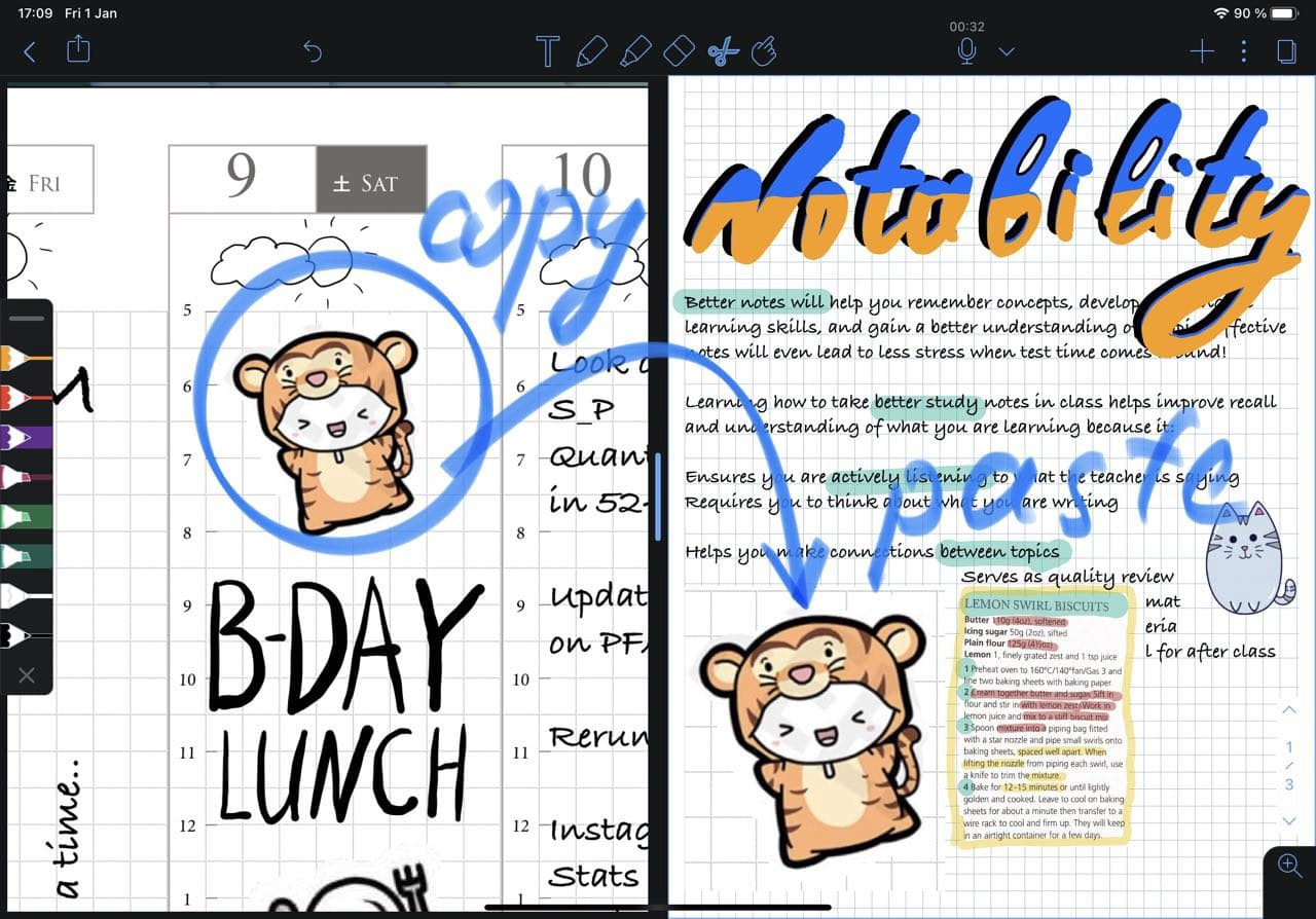 copy paste in notability