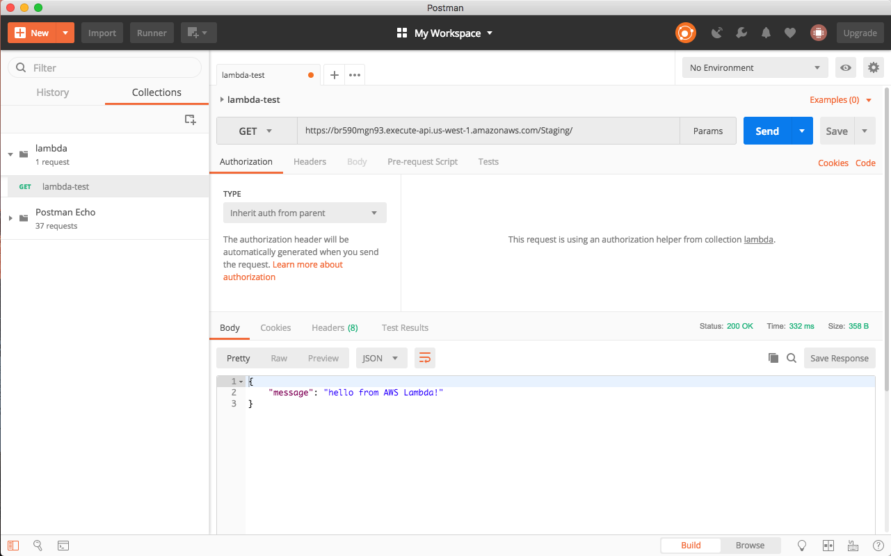 Example Request to the API using Postman