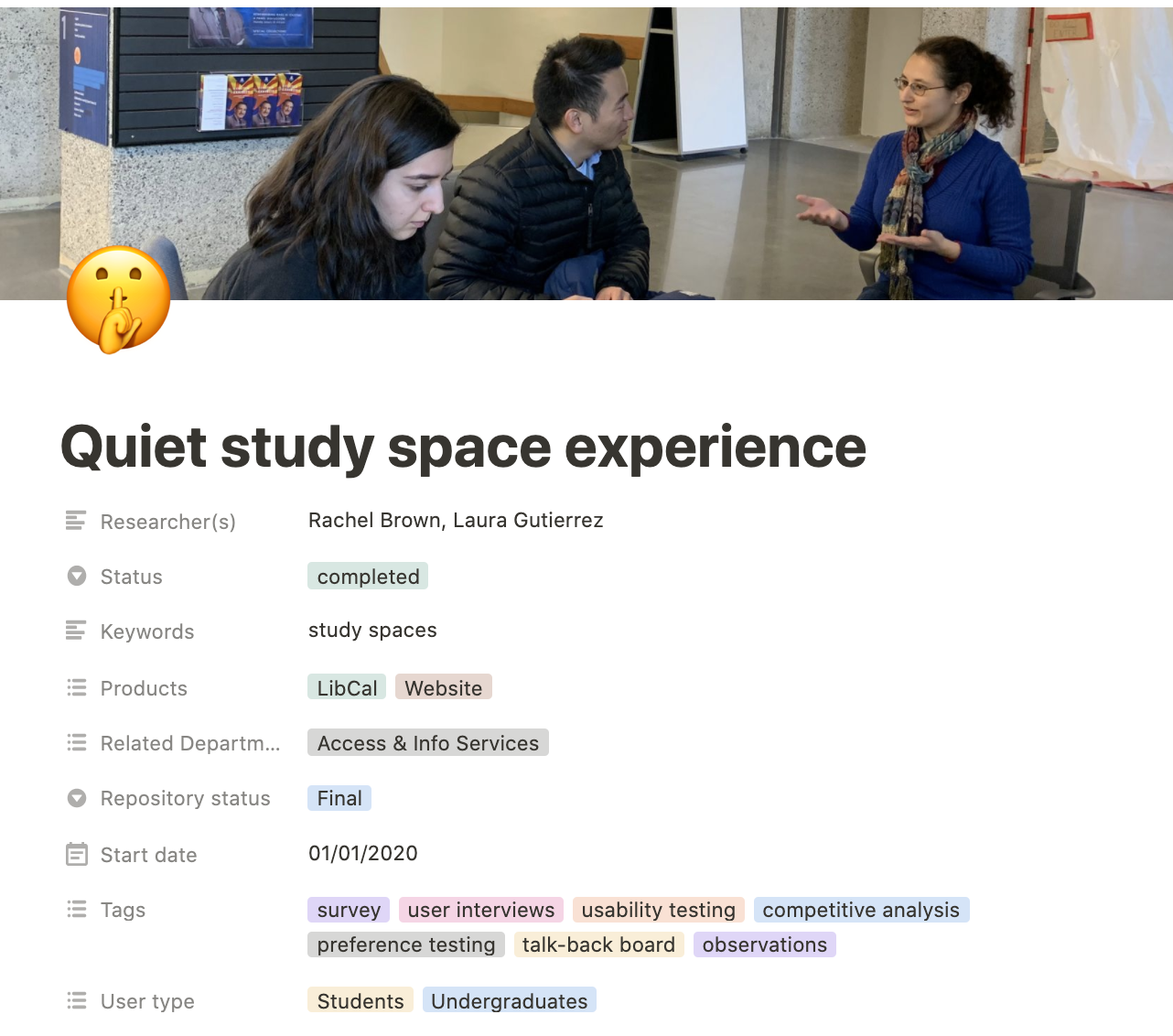 Screenshot of project title Quiet study space experience with list of tags