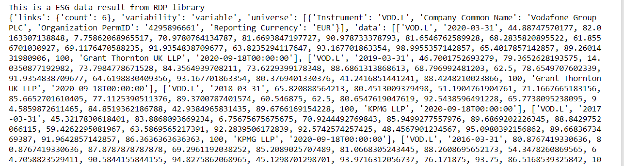 example ESG Data in JSON format
