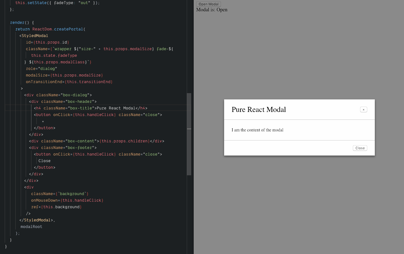 Pure React Modal with Transition Events & Styled Components