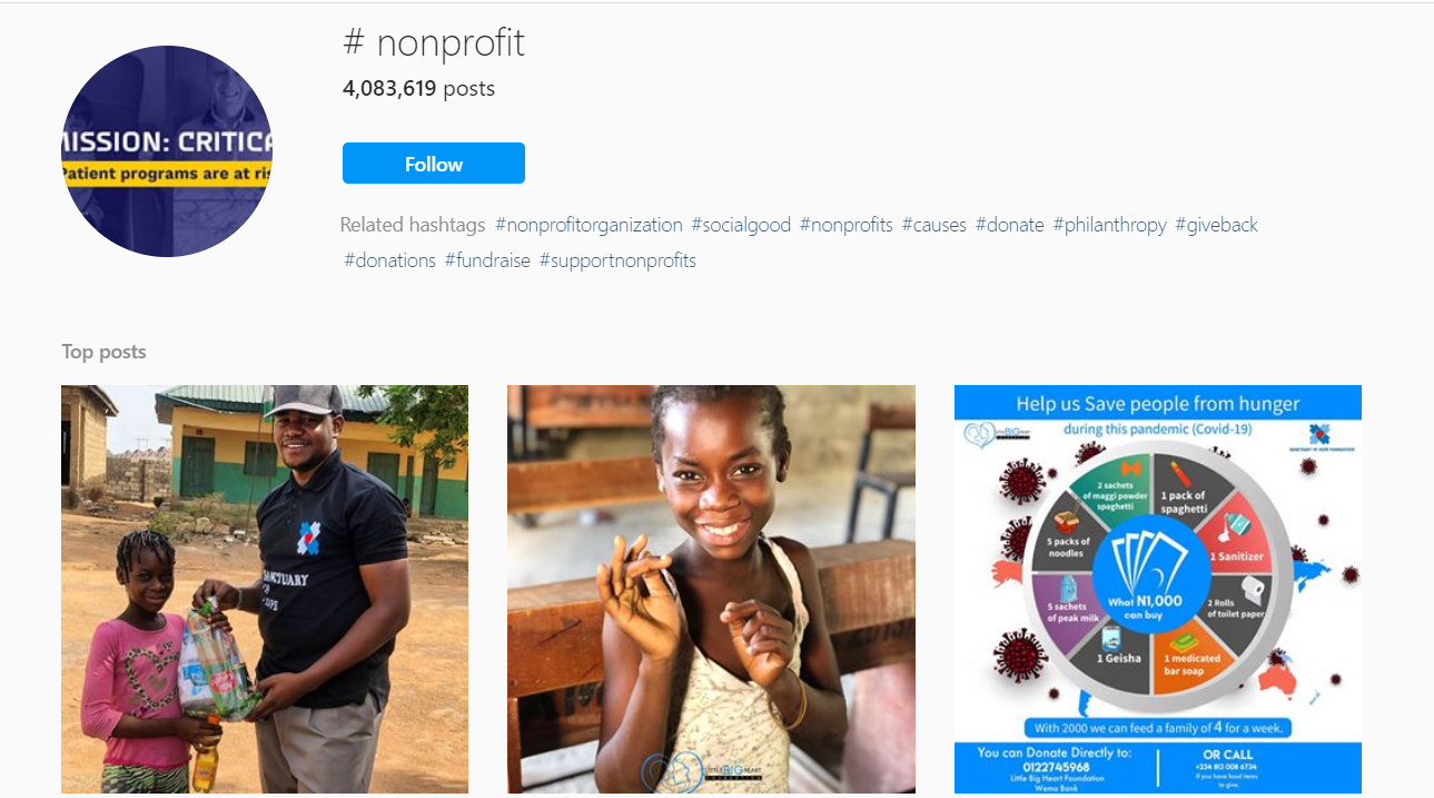 #nonprofit hashtagged Instagram posts
