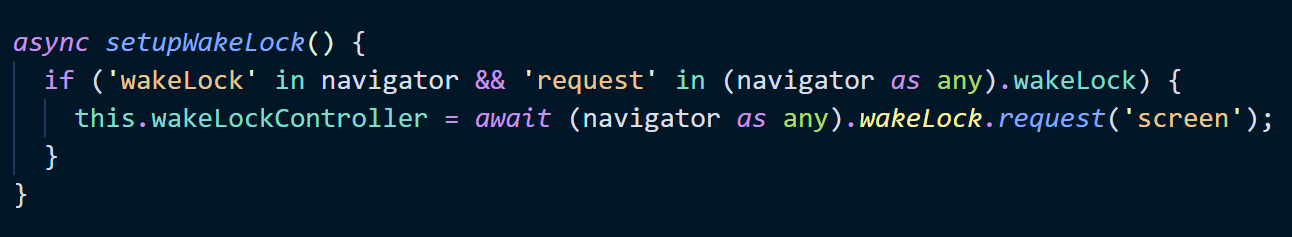 Some JavaScript that requests a wake lock