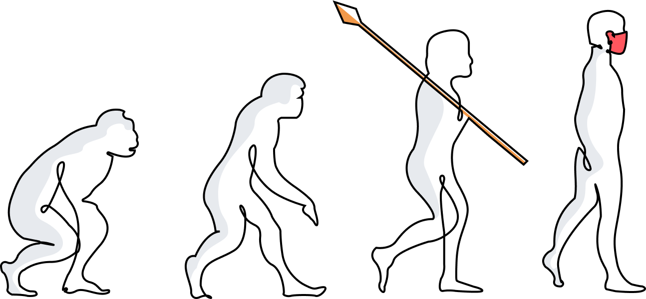 Human evolution to COVID