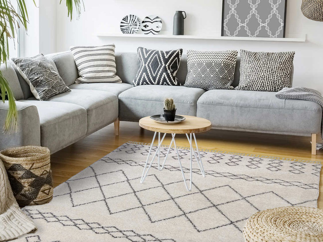 A couch and a rug.