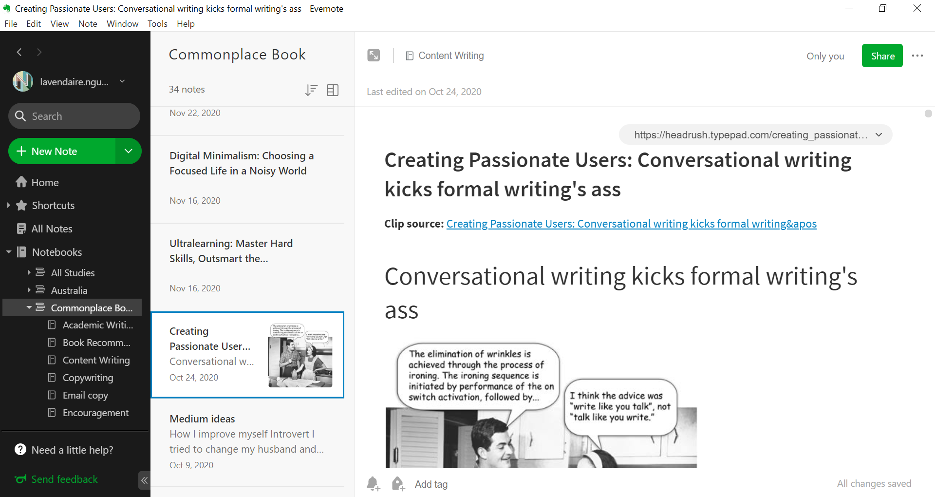 You can create different notebooks for different topics and add tags to organize your ideas on Evernote.