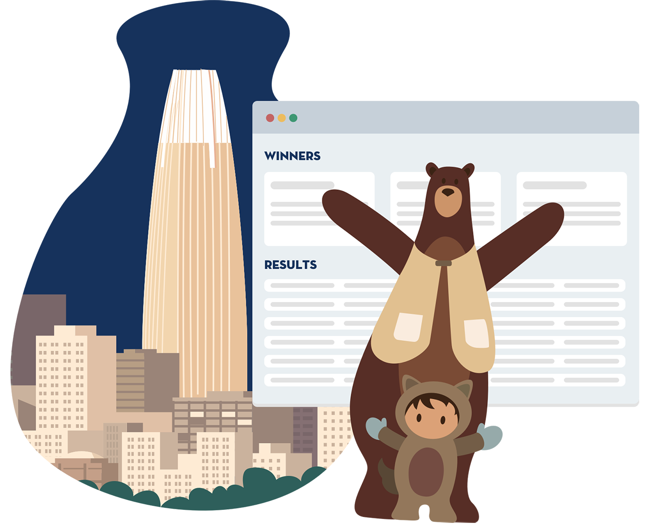 Astro and Codey standing in front of a Winners and Results page, with Salesforce Tower and other buildings in the background.
