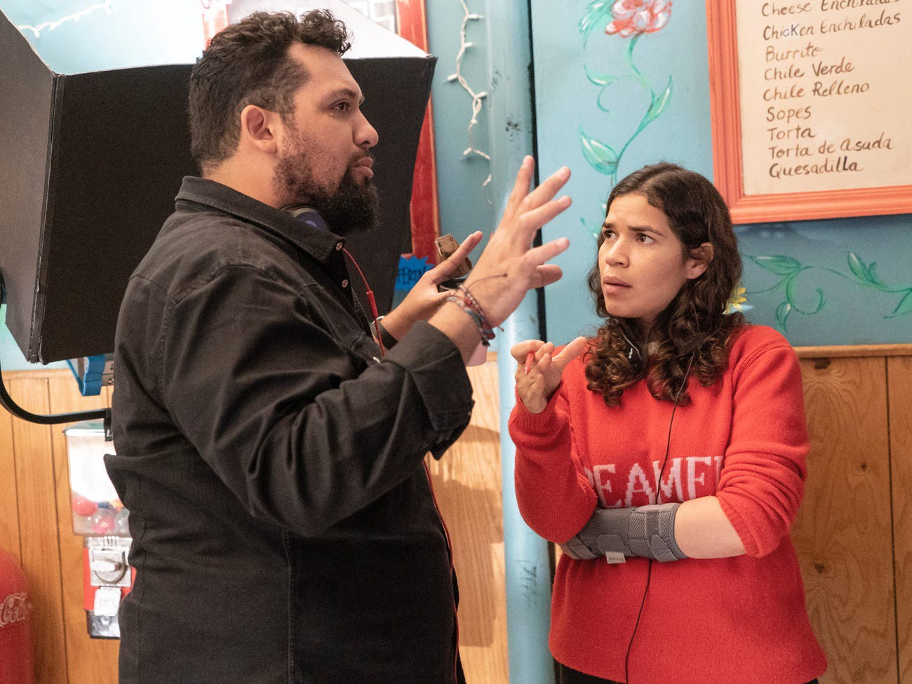 """Marvin Lemus and """"Gentefied"""" executive producer America Ferrera."""