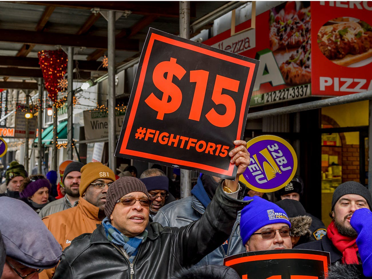 Protesters in the streets of New York in 2017 for the Fight for $15 campaign for a higher hourly wage.